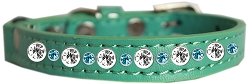 Posh Jeweled Cat Collar Aqua Size 14